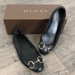 Gucci Black Leather Horsebit Ballet Flats